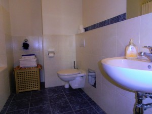 long bathroom with small hamper